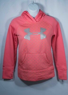 Under Armour Girls Youth Pink Polka Dot Hoodie Small Sparkle Logo