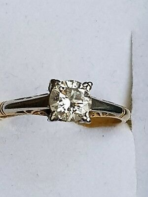 18ct yellow gold and platinum filagree Diamond Ring Set with 1 brill cut .57cts