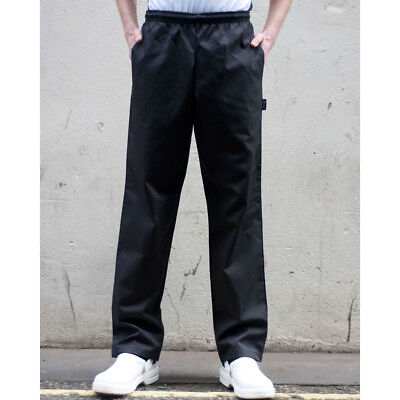 Dennys Black Elasticated Chefs Trousers Hard Wearing (DC18B)