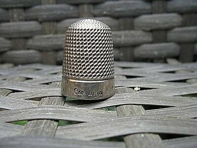 Antique Silver Thimble J&s Stamped Birmingham With A V (1920) Size 6