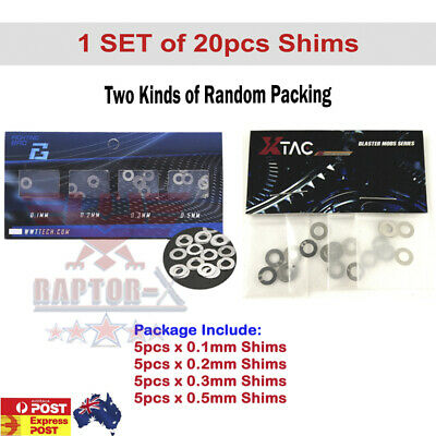 20pcs Shim Set GEL BALL BLASTER GEARBOX UPGRADE METAL GEARS SHIMS JINMING 8 9 10