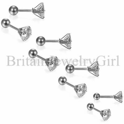 Fashion 3-6mm Round Cubic Zirconia Stainless Steel Ear Stud Barbell Earrings New