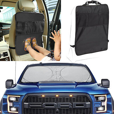 Car Back Seat Storage Hanging Kick Mats Back Seat Cover Front Window Sun Shade
