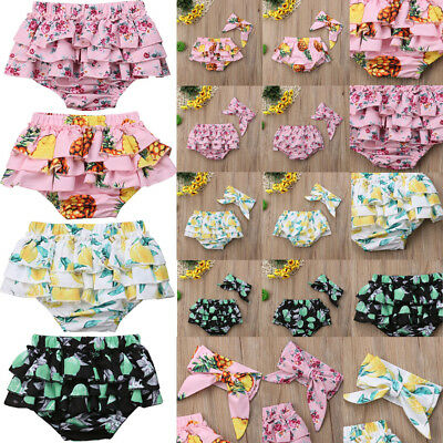 AU Toddler Infant Baby Girl Ruffle Shorts PP Pants Nappy Diaper Covers Bloomers