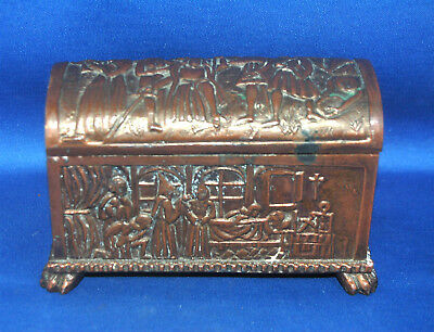 A rare Victorian copper gothic, medieval, Knights Templar religious casket
