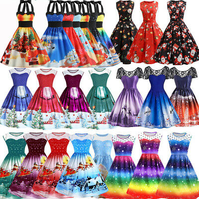 PLUS SIZE Women's Vintage 50s 60s Rockabilly Christmas Xmas Party Swing Dresses