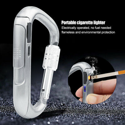 Electric Flameless Lighter Windproof USB Rechargeable Cigarettes Silver Gifts