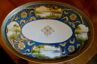 Vintage Noritake Hand Painted Oval Plate/dish - Four Pictorial Panels