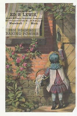 Ed S Lewis Groceries Marshall Michigan Prof Horsford's Baking Powder  Vict 1880s