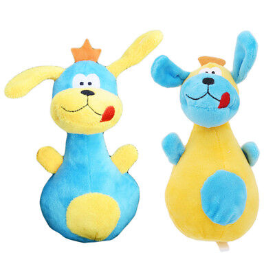 Puppy Chew Squeaker Toy Pet Dog Plush Lovely Bowling Pin Shape Dog Cartoon Toy