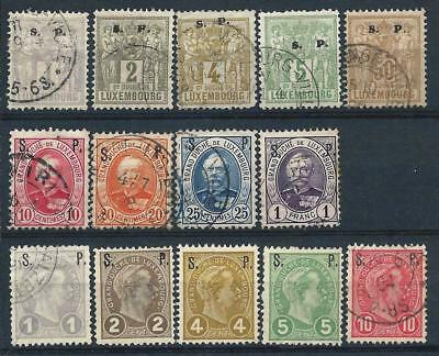 Luxembourg 1882-95 Selection of Officials Used & Mint Hinged CV £106