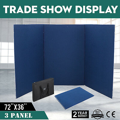 72 x 36 3 Panel Tabletop Display Presentation Board Double Side PVC Vecro