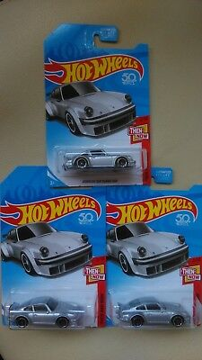 3 x HOT WHEELS 2018 THEN AND NOW PORSCHE 934 TURBO RSR (silber) 50th Anniversary
