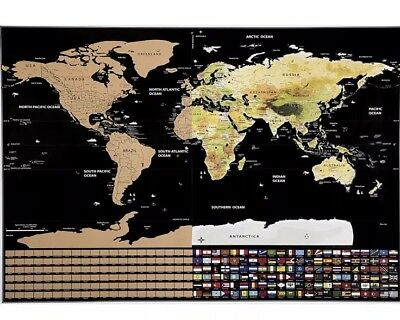 Scratch Map Deluxe Edition - Track your adventures - Personalised world map...