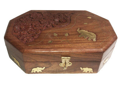 Jewelry Box Antique Hand Carved Vintage Organizer Rose Wood, Brass Inlay 7 x 5 ""