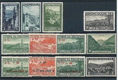 Luxembourg 1921-35 Selection of larger stamps to 20fr Mint Hinged/ MNH CV £48