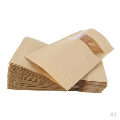 100Pcs Kraft Paper Bag Stand Up Pouch Food Zip Lock Packaging Bags 16x22cm