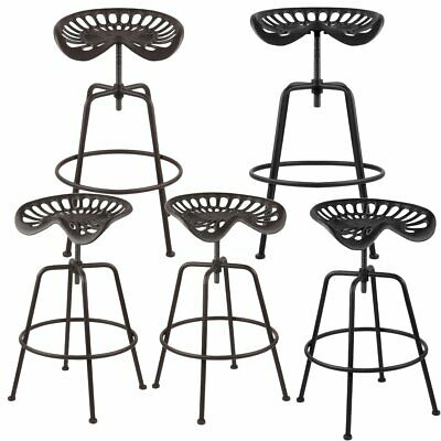 Metal Iron Vintage Tractor Seat Industrial Bar Stool Adjustable With Foot