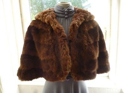 Nice Original Vintage 1920s 30s 40s Brown Real Fur Cape Stole Wrap Glamour Party