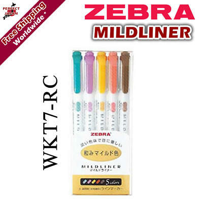 Zebra Mildliner WKT7-5C-RC Soft Colour Pen Highlighter Marker 5 colour pens F/S