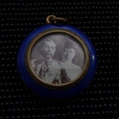 Brass & Blue Enamel King George 5Th & Queen Mary Pendant!