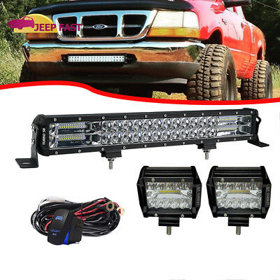 22INCH LED WORK LIGHT BAR SPOT/&FLOOD+WIRE COMBO FOR 4X4WD  FORD ATV