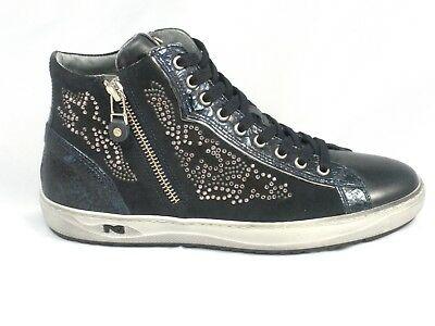 uk availability 5e2c0 55b9f SCARPE NERO GIARDINI Donna Sneakers Con Brillantini A806471D Blu Made In  Italy