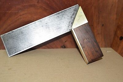 Vintage  Elliot Lucas Brass & Rosewood 8 inch Square Woodworking Old Tool