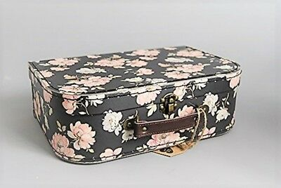 Storage Case Dark Brown & French Pink Rose Floral  Vanity Case in a chintz style