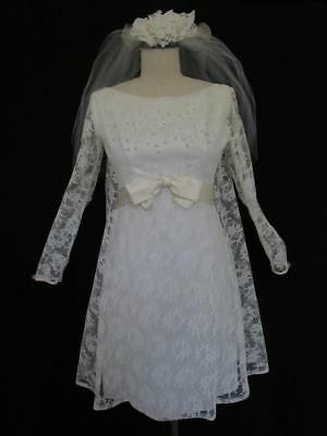 Vintage 1960s Mini Ivory Lace Wedding Dress S XS Empire Waist Watteau Back Bow