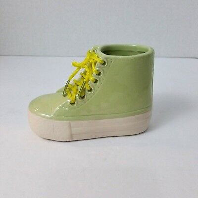 Ceramic Baby Boot Keepsake Green Yellow Nursery lace up mold floral