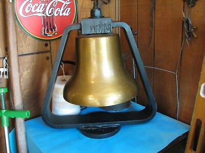 Vintage Railroad Locomotive Train Bell w/ Pneumatic Clapper and Stand .Michigan