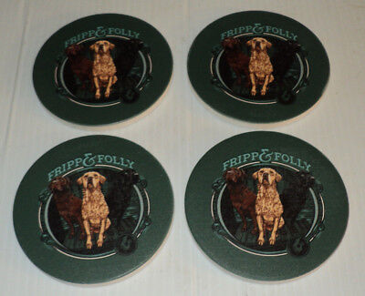 FRIPP & FOLLY Deer / Bird Hunting Dogs ~ Stone Coaster Set of 4 ~ Brand New