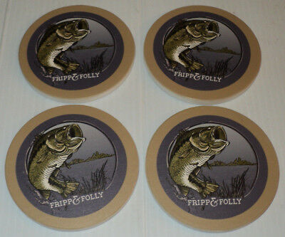 FRIPP & FOLLY Bass Fishing Fish Largemouth ~ Stone Coaster Set of 4 ~ Brand New