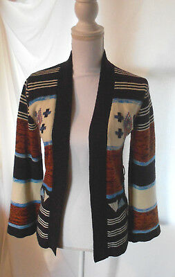Vintage 70s Boho Hippie Navajo Print Sweater Cardigan Bell Sleeves Striped S