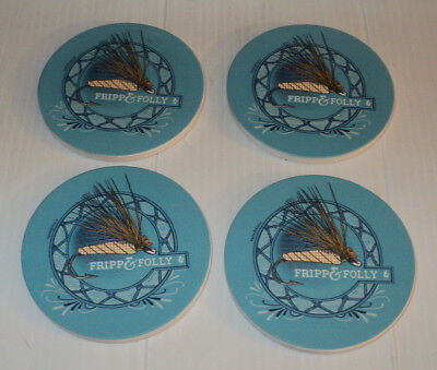 FRIPP & FOLLY Fly Fishing Lure Tying Fish  ~ Stone Coaster Set of 4 ~ Brand New