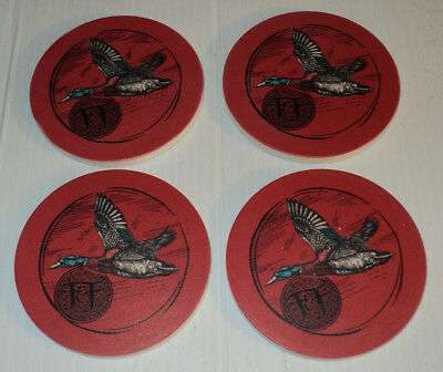 FRIPP & FOLLY Duck Ducks Hunting Mallard ~ Stone Coaster Set of 4 ~ Brand New