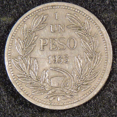 1933  CHILE  1 Peso Coin    F96