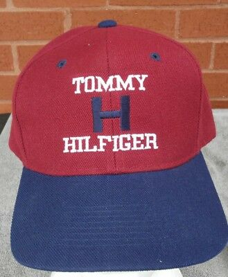 Tommy Hilfiger Hat Cap Big Logo Spell out Snapback 90s USA red white blue 35b466fd0e29