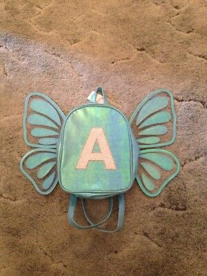 """Justice Mini Butterfly Backpack Initial """"A"""" NWT"""