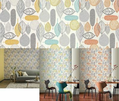 Arthouse Malmo Retro Leaf Pattern 10m Wallpaper 3 Colours