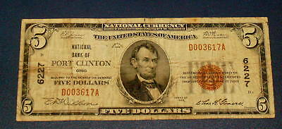 1929 PORT CLINTON OHIO 6227  National Currency $5 FIVE Dollar Note