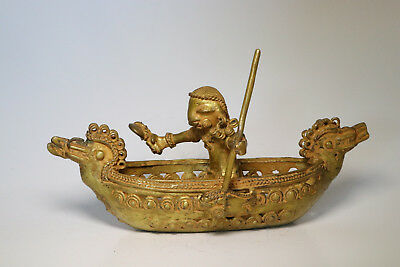 ORIGINAL COLOMBIAN GOLD COPPER TAIRONA TUMBAGA - Canoe with Fisherman