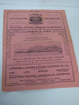 Southsea Clarence Pier theatre programme 1920