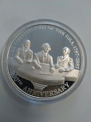 1787-1987 US-Mexico 200th Anniversary 12 Troy Ounces proof Round