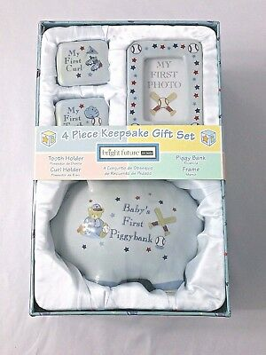 Bright Future for Baby Girls or Boys Blue 4 Piece Keepsake Gift Set NEW