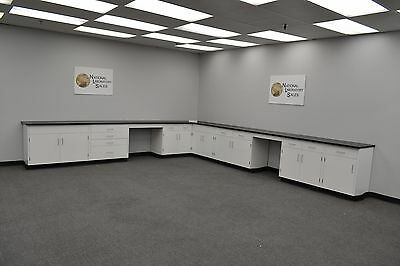 17′ x 15′ Fisher American Base Laboratory Cabinets / Case Work / Benches / Tops