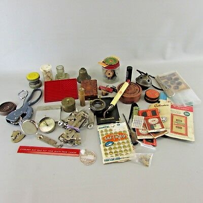 Vintage Junk Drawer Lot beer openers kitchen advertising sewing compass