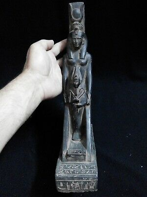 EGYPTIAN ANTIQUES ANTIQUITIES Winged Isis Protecting Osiris Statue 590-530-BC