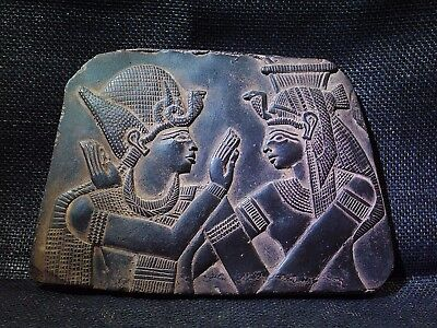 EGYPTIAN ARTIFACT ANTIQUITIES Ramses Embraced Isis Stela Relief 2700-2300-BC